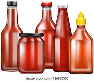 Different design of bottles for sauce illustration