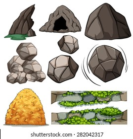 Different design of cave and rocks
