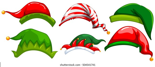 Different design of party hats illustration