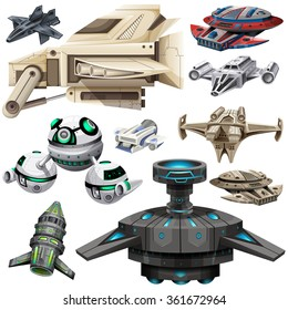 Different design of spaceships illustration