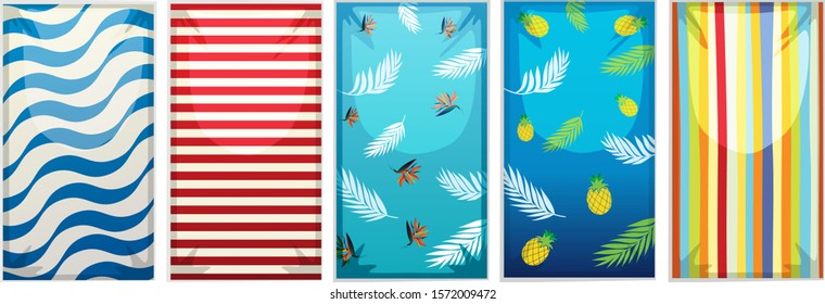 Different designs of beach towels illustration
