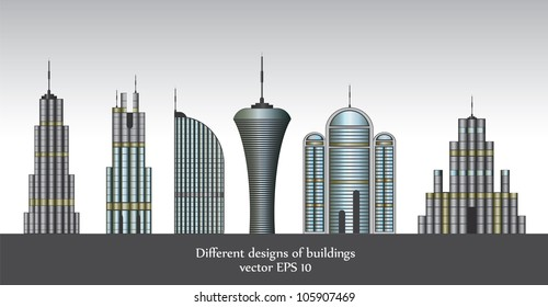 Different designs of buildings vector