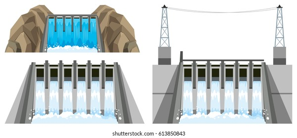 Different designs of dam illustration