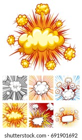 Different designs of explosion clouds illustration