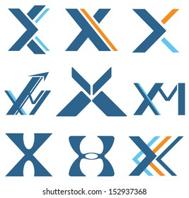 Different designs with letter X and M