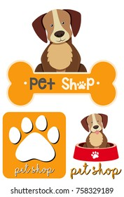 Different designs of logo for petshop illustration