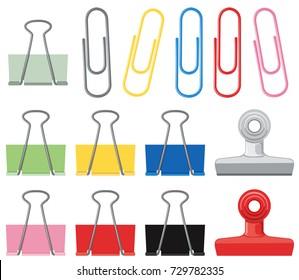 Different designs of paperclips in many colors illustration