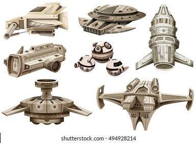 Different designs of spaceships illustration