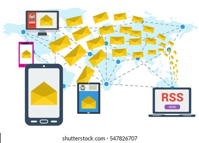 Different devices received a letter and computer sending many yellow envelopes around the world. Vector concept of communication and e-mailing worldwide, RSS. Illustration in flat style