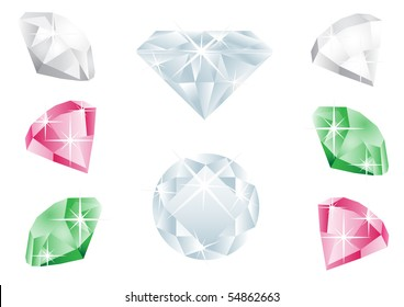 Different  diamonds isolated on the white background