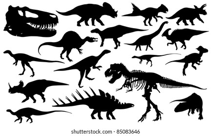 different dinosaur silhouettes isolated on white