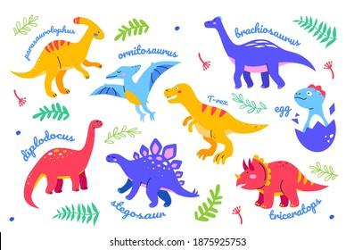 Different dinosaurs - set of flat design style characters. Extinct animals, dino collection. Bright images of ornitosaurus, brachiosaurus, T-rex, diplodocus, stegosaur, triceratops, parasaurolophus
