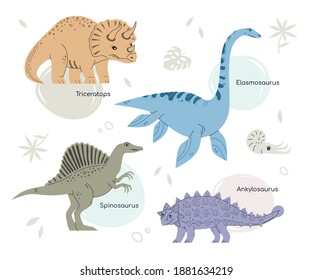 Different dinosaurs - set of flat design style characters. Extinct animals, dino collection. Prehistoric times idea. Colorful images of triceratops, elasmosaurus, spinosaurus, ankylosaurus, leaves