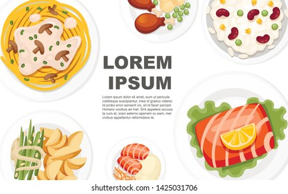 Different dishes on the plates. Traditional food from around the world. Concept for menu logos and labels. Flat vector illustration on white background. Place for text, horizontal banner