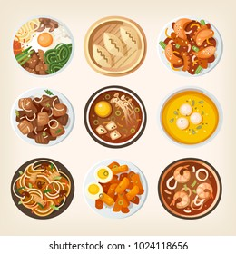 Different dishes from South Korean country traditional cuisine. Illustrations of eastern asian countries meals from above. Isolated vector food images