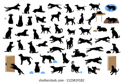 different dogs silhouettes set, pets walk, sit, play, eat, steal food, bark, protect run and jump, isolated graphic vector illustration  over white background