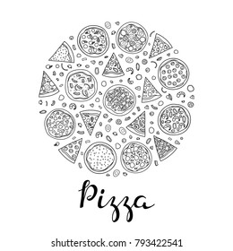 Different doodle outline pizza composed in circle shape with lettering.