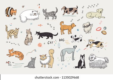 Different doodle vector cats and dogs illustrations set.