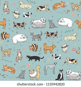 Different doodle vector cats and dogs seamless pattern.