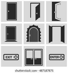 Different doors web icons collection vector illustration set