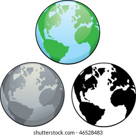 Different drawings of planet earth, from colour to black and white.