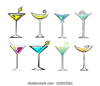 Different drinks and cocktails