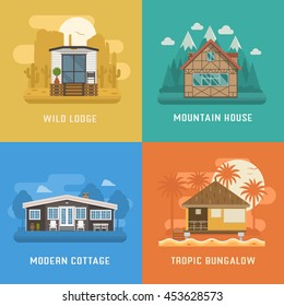 Different dwelling set. Modern apartment at rural area, tropic bungalow, mountain chalet house at park and wild lodge. Vector home poster collection. House and apartments set for booking and rent.