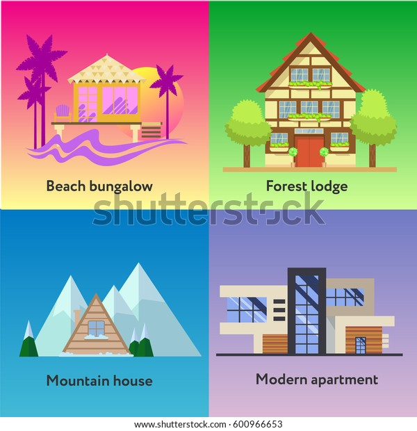 Different dwelling set. Modern apartment , tropic bungalow, mountain house and forest longe. Vector home poster collection. House and apartments set for booking and rent.