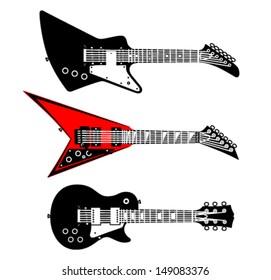 Different electric guitar, vector set, part 2
