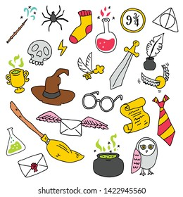 Different elements for witches at school of magic in doodle style. Vector illustration - Vector