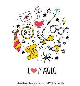 Different elements for witches at school of magic circle illustration with I love magic lettering. Vector illustration - Vector