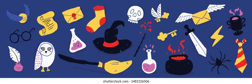 Different elements for witches at school of magic in doodle style on dark background - owl, magic wand, potion, flying letter, witch hat, round glasses, flash, flying broom. Vector illustration