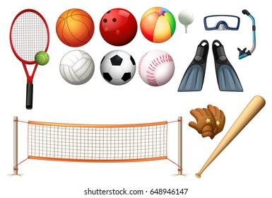Different equipments for different sports illustration