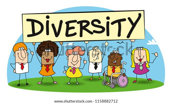 Different ethnic people are in the office. diversity is essential for the development of your company.