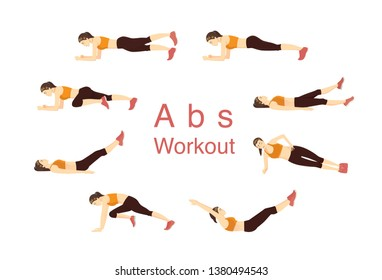 Different exercise pose for abdominal muscle workout by woman in sportswere.