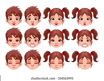 Different expressions of boy and girl. Vector isolated characters.