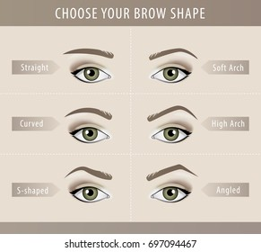 Different eyebrow shapes tutorial. vector template