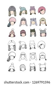 59b75fae1f8 Different faces. Girls in winter hats. Funny people. Hand drawing isolated  objects on