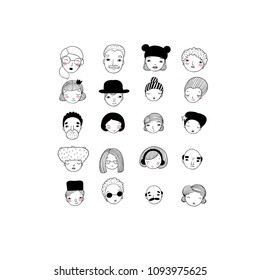 Different faces. Hand drawing isolated objects on white background. Vector illustration.
