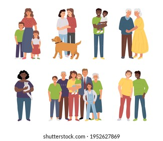 Different families: single parents, large families, elderly couple, LGBT partners, lonely woman with a pett. Diversity vector characters.