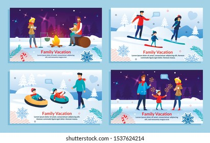 Different Family Entertainment on Winter Vacation Set. Father, Mother and Children Snowboarding, Going Downhill, Having Picnic in Park, Watching Salute. Flat Banner. Vector Cartoon Illustration