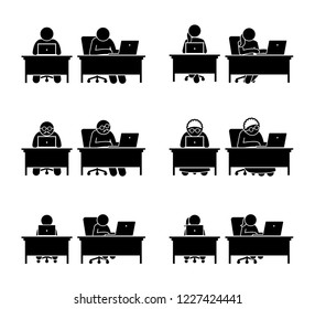 Different family members using computer to go online. The people that are working on the laptop are man, woman, old man, elderly woman, and children.
