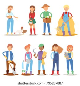 Different farmer workers people character agriculture person profession farming life vector illustration.