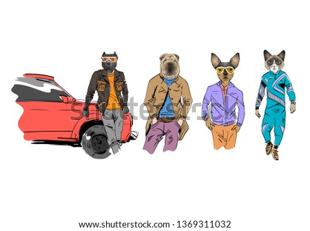 Different Fashion Models Animal Heads Set Stock Vector