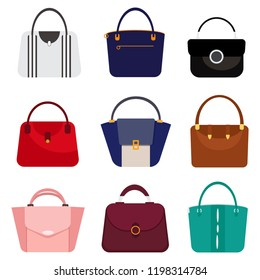 Different fashion woman's bags set. Flat design, vector.