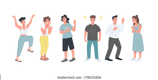 Different feelings flat color vector detailed character set. Men and women with various face expressions isolated cartoon illustration for web graphic design and animation collection