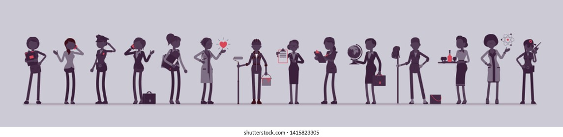 Different female professions and business. Working people, women in occupation standing together, employee union, career. Vector illustration with faceless characters, full length