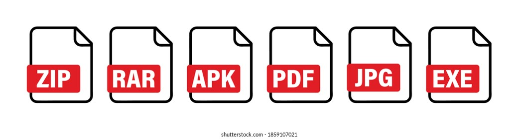 Different file formats icon set. Image with file formats collection. Document icon vector. Pdf jpg zip txt format file vector icon. Vector graphic. EPS 10