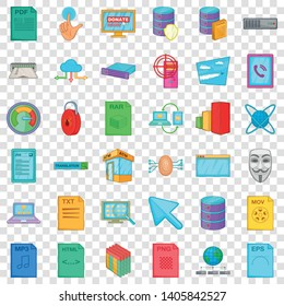 Different file icons set. Cartoon style of 36 different file vector icons for web for any design