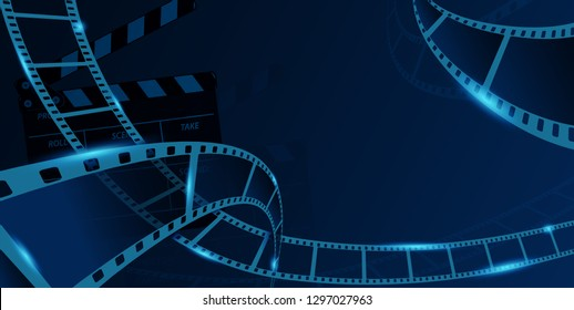 Different film strip frame with clapper-board isolated on blue background. Design template cinema festival banner, brochure, flyer, poster, tickets, leaflet. Vector illustration in 3d isometric style.